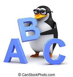 3d Academic penguin teaches the alphabet