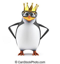 3d Academic penguin wears a gold crown - 3d render of a...