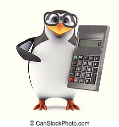 3d Academic penguin with a calculator