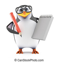 3d Academic penguin with a notepad and pencil