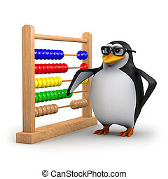 3d Academic penguin with abacus