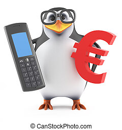 3d Academic penguin with phone and Euro symbol