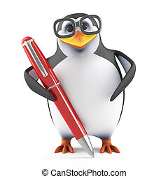 3d Academic penguin writing with a pen