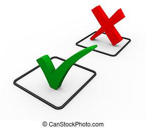 3d accept and decline symbols