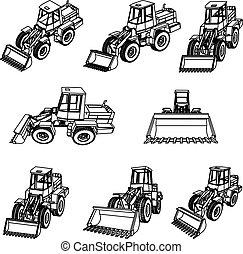 3d, acht, projectie, vector., bulldozer.