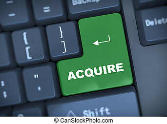 3d illustration of computer keyboard enter button with text Acquire