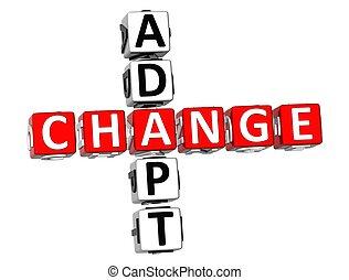Adapt Change Crossword - 3D Adapt Change Crossword on white ...