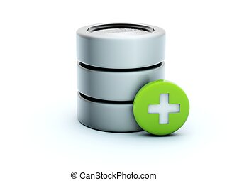 3d add storage icon isolated on white