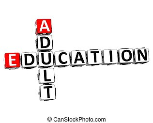 3D Adult Education Crossword on white background