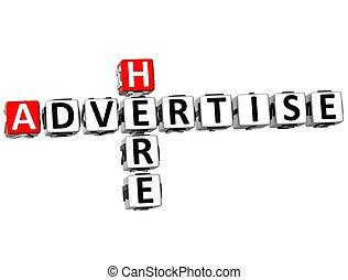 3D Advertise Here Crossword