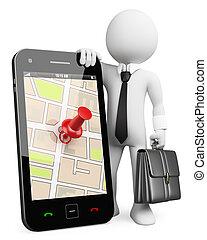3d, affari, bianco, persone., telefono mobile, con, gps