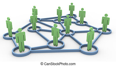 3d, affari, comunità, rete
