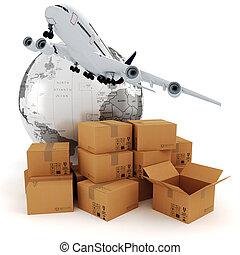 3d, affari globali, commercio, concetto