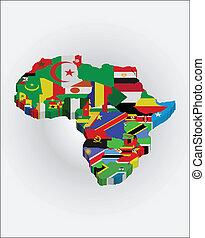 3d, africano, mapa