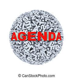 3d agenda - alphabet letter character sphere ball