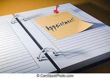 3d agenda with sticky note