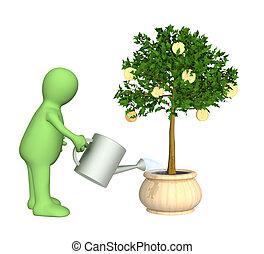 3d, aguando, árvore, monetário, fantoche