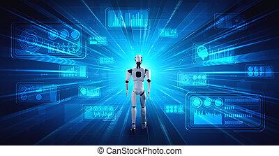 3d, ai, humanoid, übertragung, denken, analysieren, roboter, daten, groß, gebrauchend