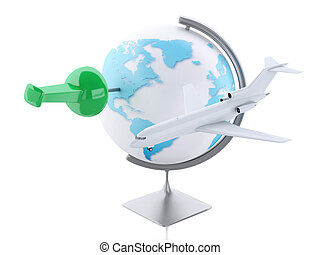 3d airplane and world globe. Travel concept