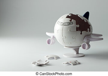 3D airplane puzzle with some incomplete pieces