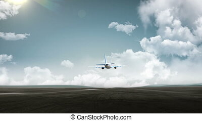 3D Airplane take off on a runway with airport in the background. travel.