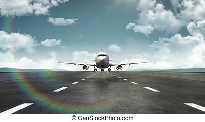 3D Airplane take off on a runway with airport in the background. travel. world tour