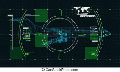 3D airplane technical drawing over data processing on black ...