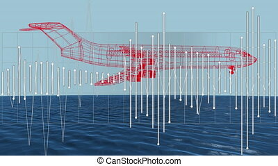 3D airplane technical drawing with data processing over sea ...
