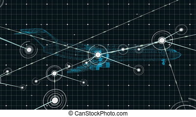 3D airplane technical drawing with network connections on ...