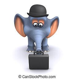3d, aktentas, zakelijk, elefant