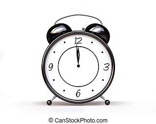 Alarm Clock in Black and White - 3D Alarm Clock in Black and...