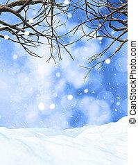 3d, albero inverno, su, nevoso, fondo