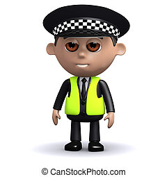 3d Alert police officer - 3d render of a police officer...