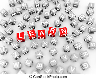 3d, alfabet, blokjes, blokje, woord, leren