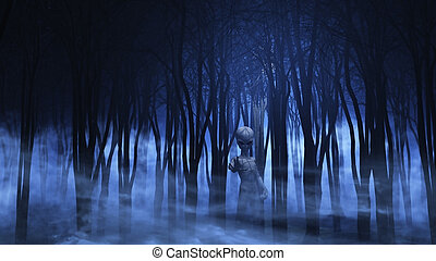 3D alien in a foggy forest