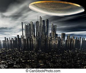 3d alien UFO space ship above night city
