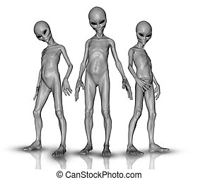 3D aliens in a group - 3D render of a group of aliens