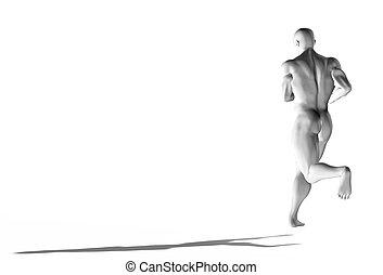 3d, allenamento, correndo, concept., uomo