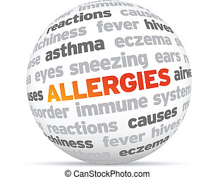 3d Allergies Word Sphere on white background.