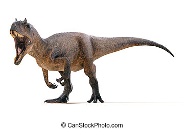 3d Allosaurus render on white background
