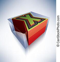 3D alphabet: Capital letter X