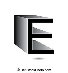 3d alphabet E logo