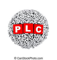 3d alphabet letter character sphere ball plc