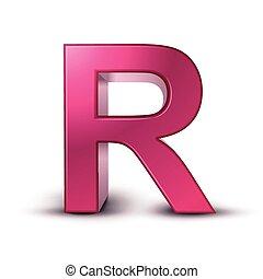 3d alphabet pink R