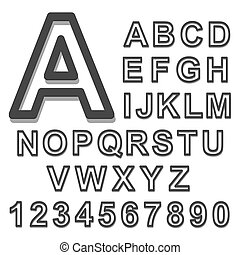 3d Alphabet set black font on a white background. Vector illustration