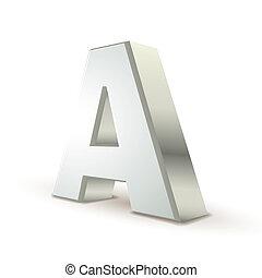 3d alphabet silver A