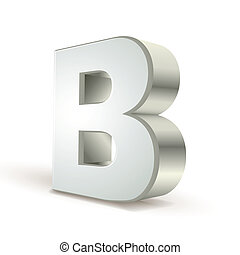3d alphabet silver B