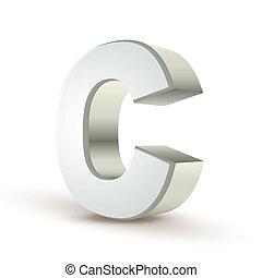 3d alphabet silver C