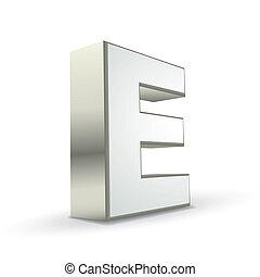 3d alphabet silver E