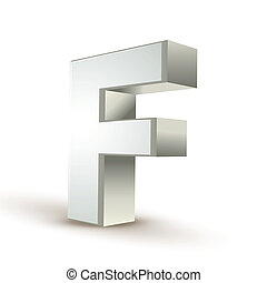 3d alphabet silver F